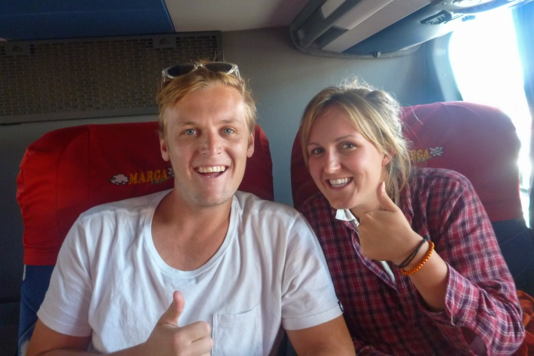 Smiles at the beginning of the 28hr bus ride.