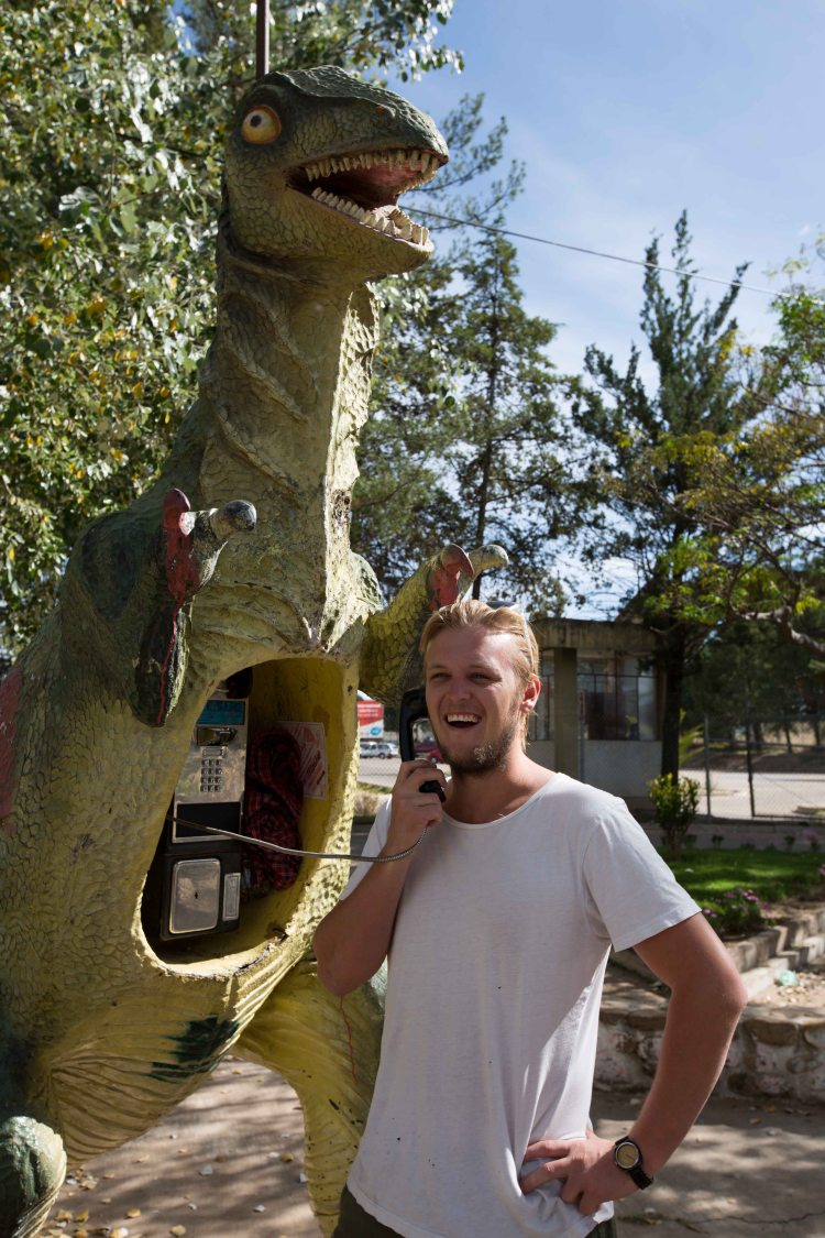 Will at the Dinosaur Phone Booth