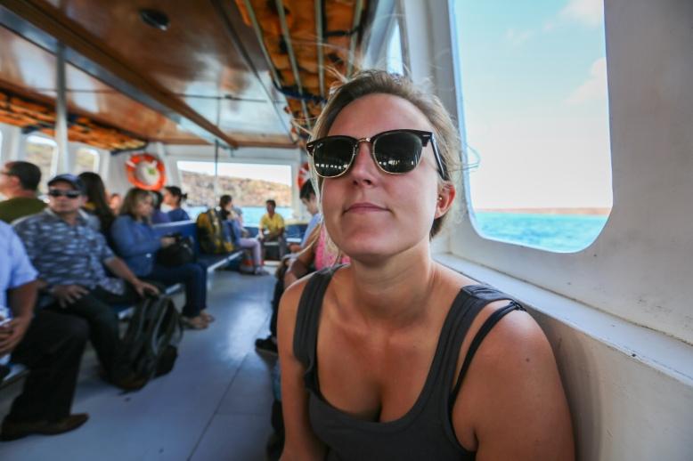 On the boat to Santa Cruz, Galapagos