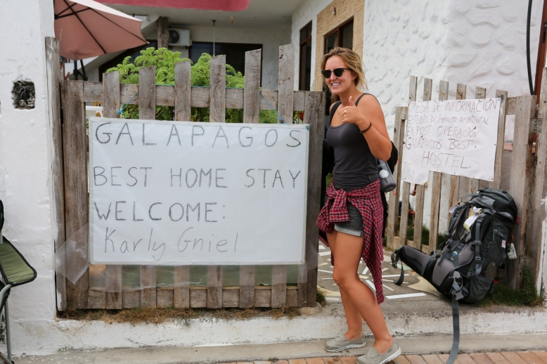 Galapagos Best Home Stay Welcome Sign
