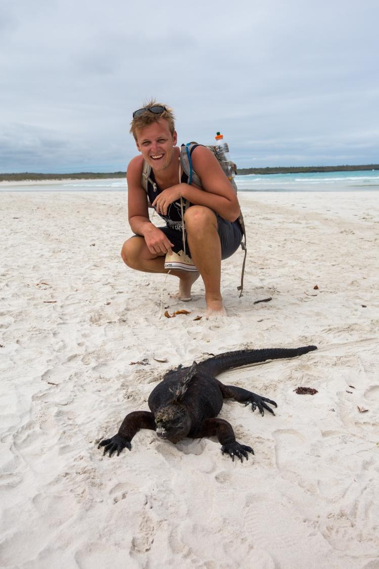 Will with a Marine Iguana